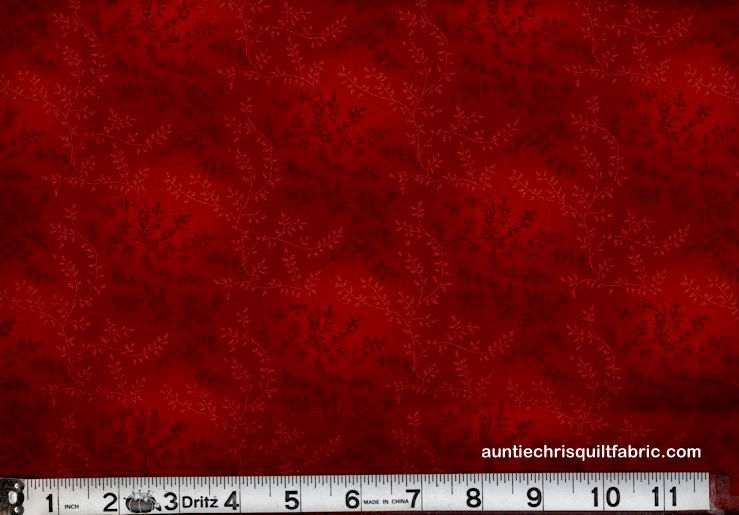 Cotton Quilt Fabric Tonal Vineyard Vines Leaves Tone On Tone Dark Red - product images  of