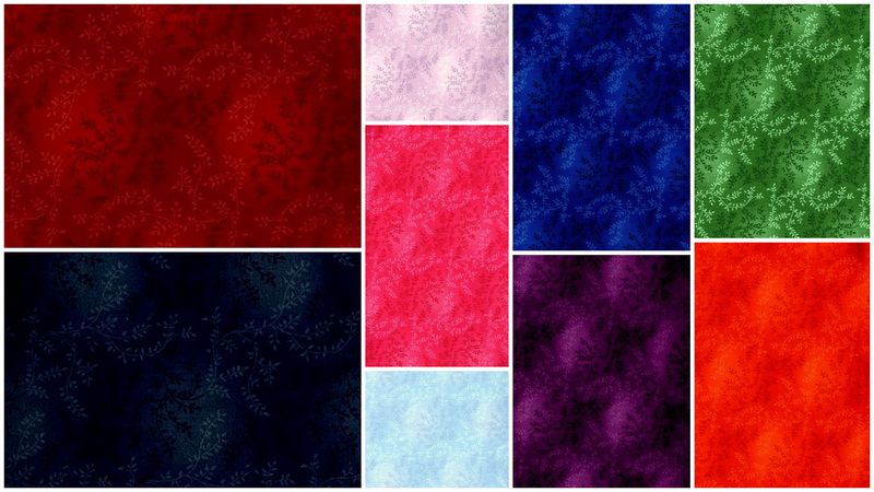 Cotton Quilt Fabric Tonal Vineyard Vines Leaves Rainbow 9 Fat Quarter Medley - product images  of
