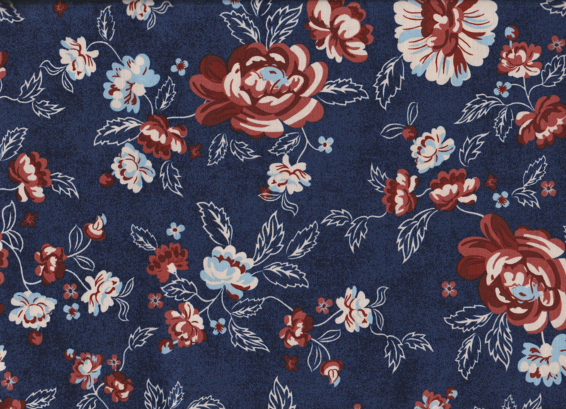 Cotton Quilt Fabric Boundless Stitches N Stripes Navy Brick Red Floral - product image