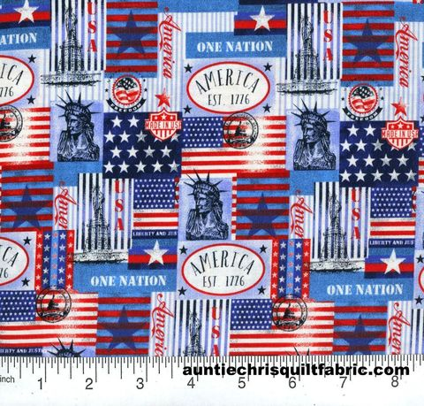 Cotton,Quilt,Fabric,Patriotic,One,Nation,Patch,Red,White,Blue,,quilt backing, dresses, quilt fabric,cotton material,auntie chris quilt,sewing,crafts,quilting,online fabric,sale fabric