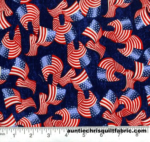 Cotton,Quilt,Fabric,Patriotic,Waving,Flags,On,Blue,,quilt backing, dresses, quilt fabric,cotton material,auntie chris quilt,sewing,crafts,quilting,online fabric,sale fabric
