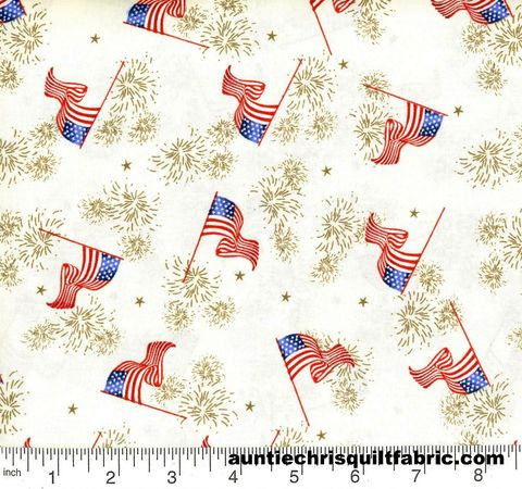 Cotton,Quilt,Fabric,Patriotic,Flags,&,Fireworks,Off,White,,quilt backing, dresses, quilt fabric,cotton material,auntie chris quilt,sewing,crafts,quilting,online fabric,sale fabric