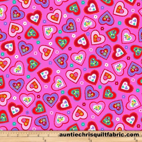 Cotton,Quilt,Fabric,Love,Is,Forever,Scattered,Hearts,Pink,Multi,,quilt backing, dresses, quilt fabric,cotton material,auntie chris quilt,sewing,crafts,quilting,online fabric,sale fabric