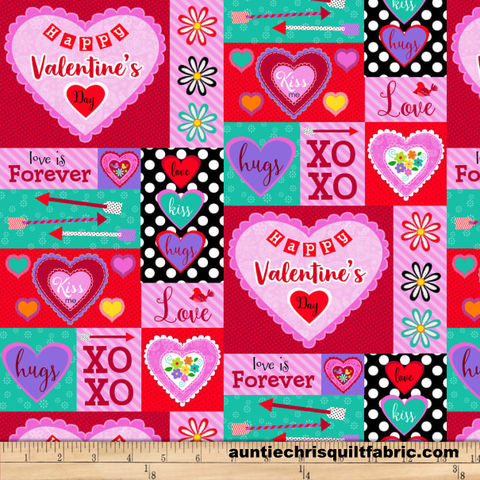 Cotton,Quilt,Fabric,Love,Is,Forever,Valentine,Heart,Patch,Pink,Multi,,quilt backing, dresses, quilt fabric,cotton material,auntie chris quilt,sewing,crafts,quilting,online fabric,sale fabric