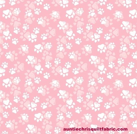 Cotton,Quilt,Fabric,Fancy,Cats,Paw,Prints,Pink,White,Pets,,quilt backing, dresses, quilt fabric,cotton material,auntie chris quilt,sewing,crafts,quilting,online fabric,sale fabric