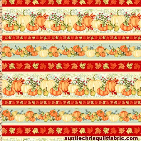 Cotton,Quilt,Fabric,Pumpkin,Spice,Border,Stripe,Pumpkins,Autumn,,quilt backing, dresses, quilt fabric,cotton material,auntie chris quilt,sewing,crafts,quilting,online fabric,sale fabric