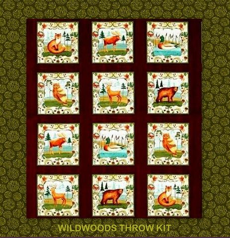 Easy,Quilt,In,A,Day,Everyday,Throw,Kit,Wildwoods,Folk,Art,Animals,51,x,67,,quilt backing, dresses, quilt fabric,cotton material,auntie chris quilt,sewing,crafts,quilting,online fabric,sale fabric