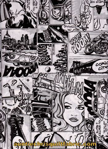 Cotton,Quilt,Fabric,Comic,Book,City,Retro,Black,White,56,Wide,,quilt backing, dresses, quilt fabric,cotton material,auntie chris quilt,sewing,crafts,quilting,online fabric,sale fabric