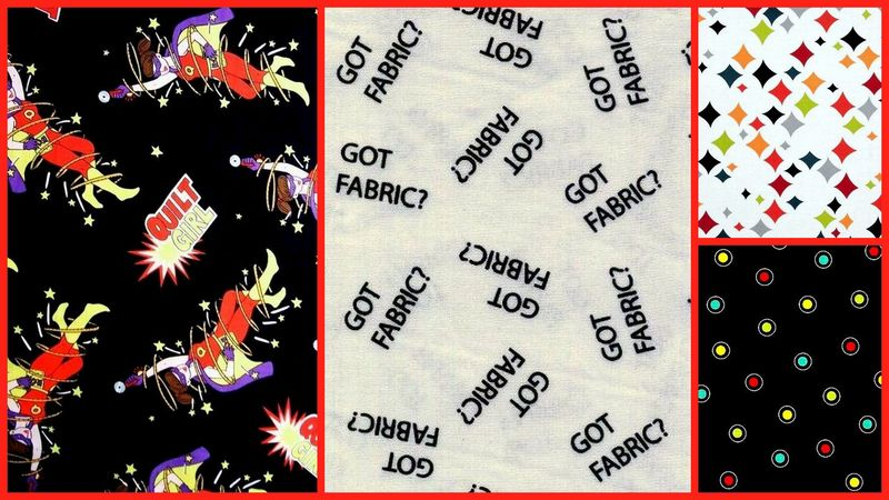 Quick Cuts Cotton Quilt Fabric Retro Comic Quilt Girl 2 Yard Medley  - product images  of