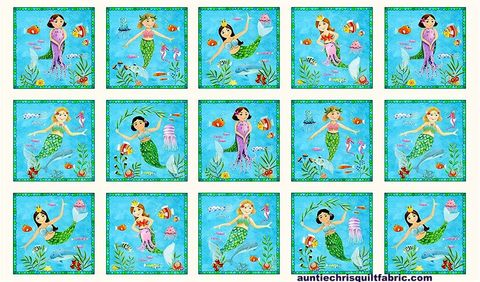 Cotton,Quilt,Fabric,Panel,Little,Mermaids,Aqua,Blue,Sea,Ocean,Multi,24,,quilt backing, dresses, quilt fabric,cotton material,auntie chris quilt,sewing,crafts,quilting,online fabric,sale fabric