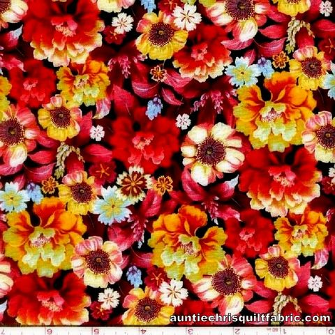 Cotton,Quilt,Fabric,SHIMMERING,BOUQUETS,PACKED,FLORAL,RED,PINK,,quilt backing, dresses, quilt fabric,cotton material,auntie chris quilt,sewing,crafts,quilting,online fabric,sale fabric