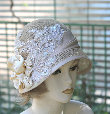 Sinamay,Summer,Wedding,Hat,1920's,Cloche,Vintage,Style,1920's hats, formal hat, hand made hats, elaborate hat,  wedding hat, beads and sequins hat, bridal hat ,sinamay hats, custom made hats, summer wedding hats