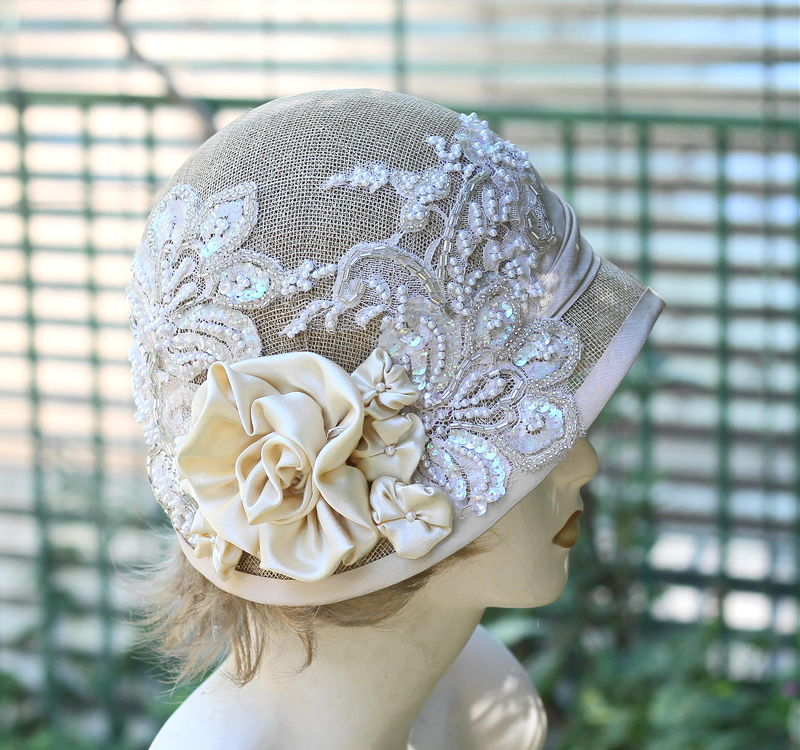Sinamay Summer Wedding Hat 1920's Cloche Vintage Style - product image