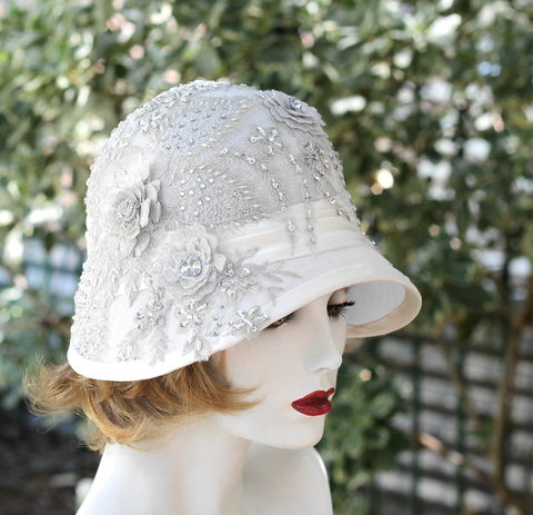 White,Formal,20s,Wedding,Hat,Rhinestone,Lace,elegant hat, wedding hat, rhinestone wedding hat, elaborate hats, Bridal hat, Summer hat, lace hat, silver hat