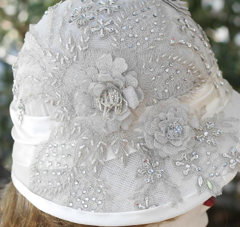 White Formal 20s Wedding Hat Rhinestone Lace - product image