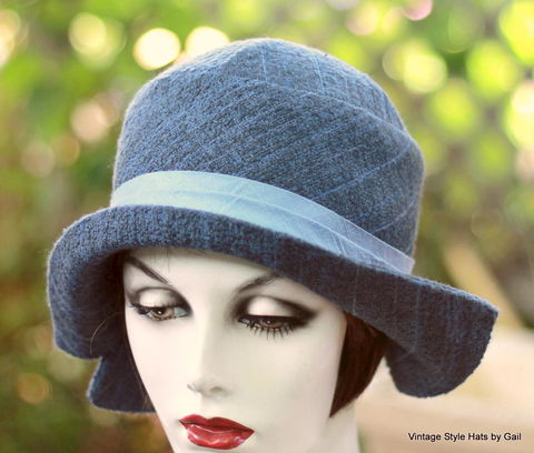 20's,Wool,Tweed,Cloche,Hat,Warm,Fall,Winter,womens hats, 1920's hats great gatsby hat, wool hat, warm hat, winter hat, downton abbey hat,blue hat