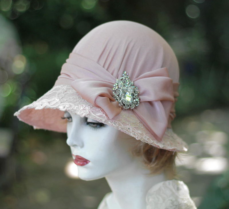 Mother of the Bride Formal Lace Wide Brim 20's Hat              - product image