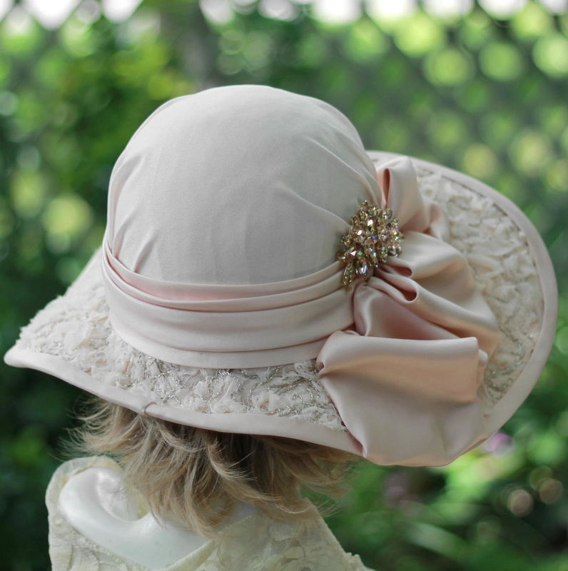 Mother of the Bride Wide Brim Tea Party Hat Lace Vintage Style - product image