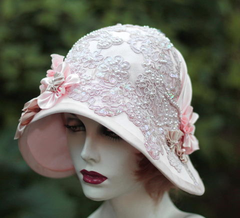 Pretty,Pink,Lace,Hat,Wedding,Tea,Party,Formal,Events,1920's hat, summer hat, formal hat,hat flowers, hat with lace, summer wedding hat, sun hat, sunhat, high tea hat, wide brim hat,pink hathats by gail