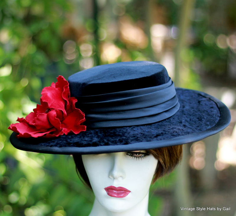 Black Velvet Edwardian Hat Bolero Wide Brim Black Velvet - product image