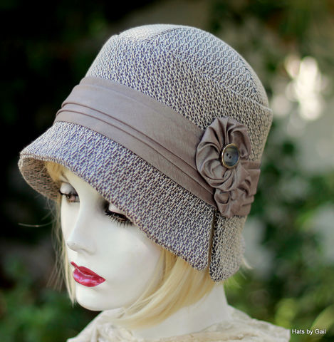 Cloche,Hat,Taupe,Beautiful,1920's,Fall,and,Winter,fall season womens hats, cloche winter hat, flapper hat, classic hats, couture hat, tailored hat,fall hats winter hats,chemo fashion hats,chemo hats