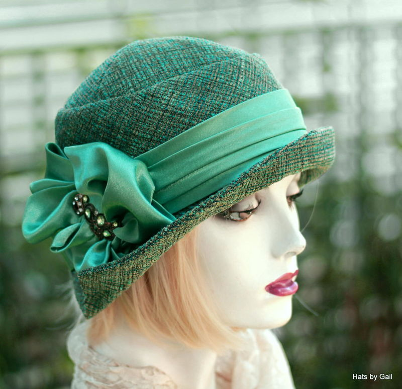 20s Flapper Hat Green Teal Tweed Fall Winter - product image