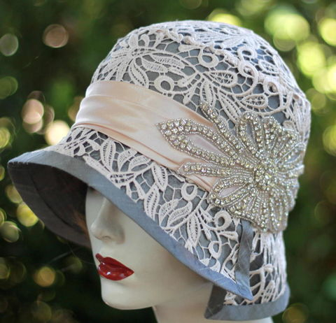 Designer,Formal,Flapper,Hat,Lace,and,Rhinestones,hat,special occasion hat, wedding hat,formal hats,bridal hats,fancy hats,20s hats, hats with rhinestones