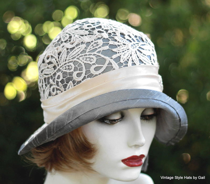 Designer Formal Flapper Hat Lace and Rhinestones - product image