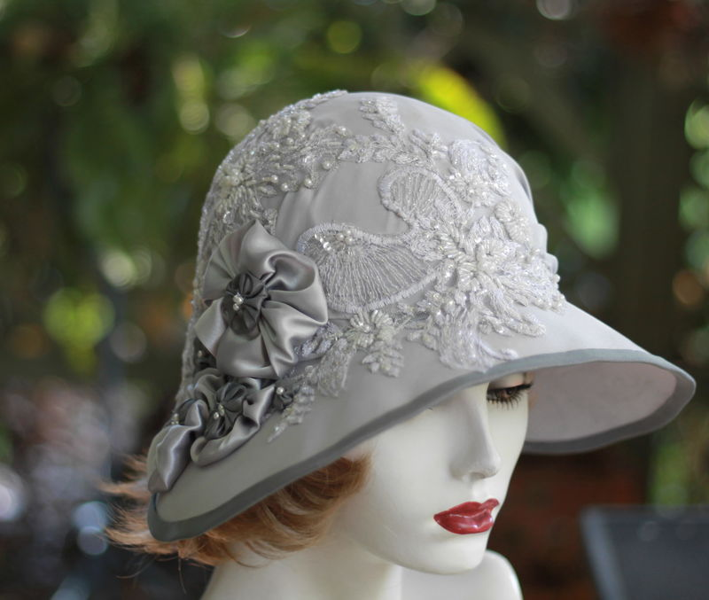 1920's Fancy Formal Wedding Cloche Hat Silver Grey - product image