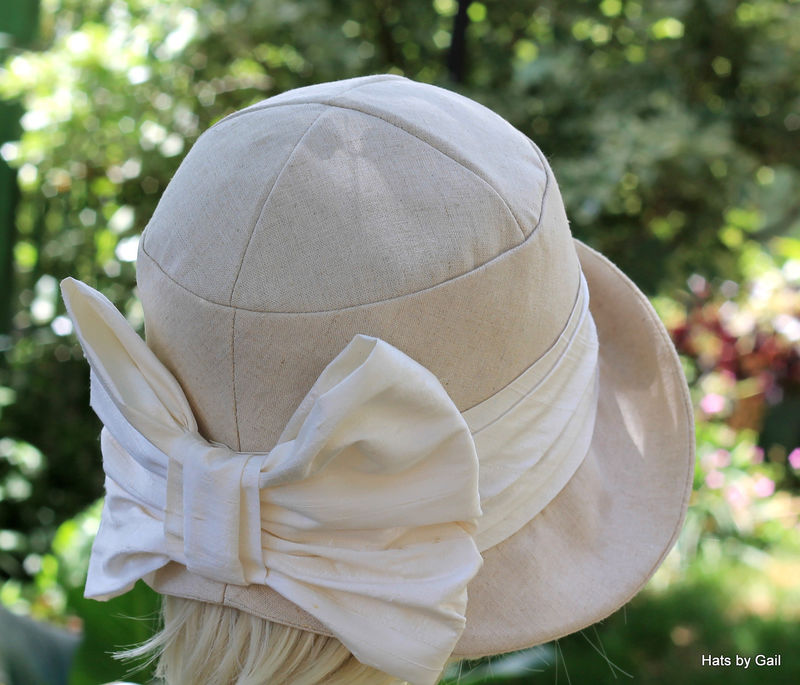 Summer Cloche Hat in Ivory Linen Chemo Fashion Hat  - product image