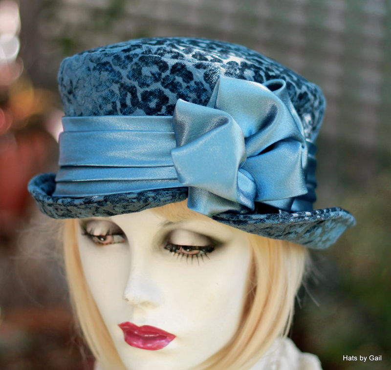 Bucket Riding Hat in Blue Fabric BoHo Steampunk Look - product image