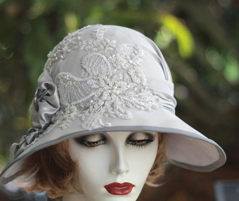 1920's,Fancy,Formal,Wedding,Cloche,Hat,Silver,Grey,sinamay wedding hat,sinamay hat,vintage style wedding hat,bridal hat,custom made hats,mother of the brid hat