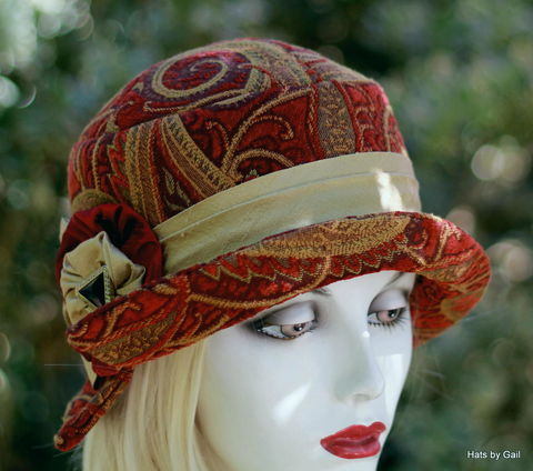 1920s,BoHo,Style,Fall,Winter,Fabric,Hat,womens hat, cloche hat,1920s hats,everyday hat,Boho hat,hats by gail,downton abbey hats,trendy hats,hat for fall,hats for winter,fabric hat,chemo hats