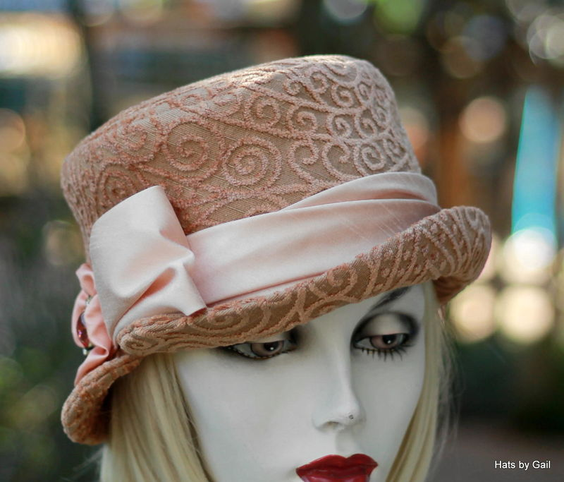 Formal Dress Hat Weddings, Tea Party Mother of the Bride Peach - product image