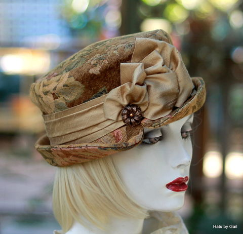 Tapestry,Formal,Occasion,Bucket,Hat,Floral,Print,ridding hat, boho style hat,bucket hat,downton abby hats,dress hat,formal hat,fabric hat,steampunk hat,dress hat
