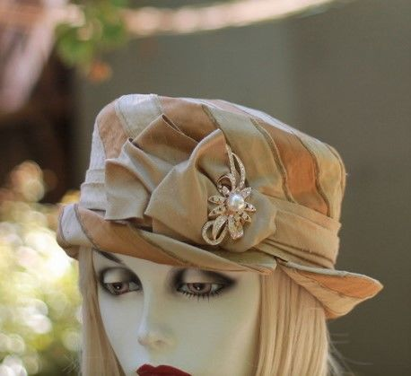Edwardian,Bucket,Gold,Stripe,Silk,Fabric,Hat,ridding hat, boho style hat,bucket hat,downton abby hats,dress hat,every day hat,fabric hat,steampunk hat