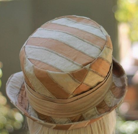 Edwardian  Bucket Gold Stripe Silk Fabric Hat - product image