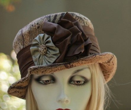 Brown,Tapestry,Edwardian,Steampunk,Boho,Ridding,Bucket,Hat,ridding hats, boho hats,bucket hats,downton abby hats,dress hats,formal hats,fabric hats,steampunk hats,dress hats