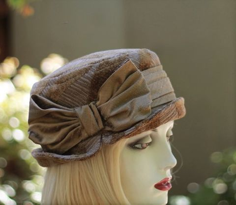 Bucket,Hat,Steampunk,Boho,Ridding,Style,in,Brown,ridding hat, boho style hat,bucket hat,downton abby hats,dress hat,formal hat,fabric hat,steampunk hat,dress hat