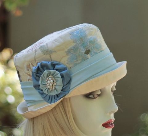 Bucket,Hat,in,Brocade,Tapestry,Fabric,Vintage,Style,ridding hat, vintage style hat,bucket hat,downton abby hats,dress hat,formal hat,fabric hat,steampunk hat,dress hat