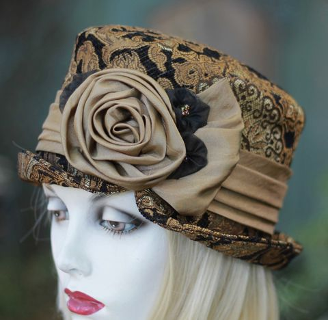 Formal,Wedding,Hat,Mother,of,the,Bride,Vintage,Style,Black,Gold,ridding hat, vintage style hat,bucket hat,downton abby hats,dress hat,formal hat,fabric hat,steampunk hat,dress hat