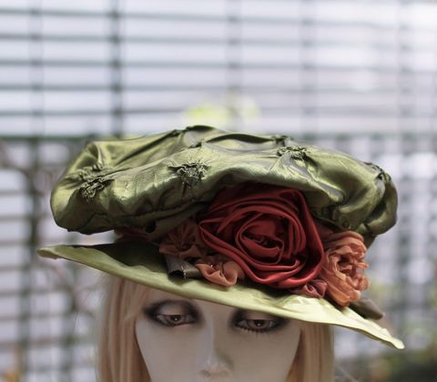 Reniassance,Edwardian,Costume,Hat,in,Olive,Green,hat, cloche hat,US Handmade Fashion,vintage fashion,fashion apparel