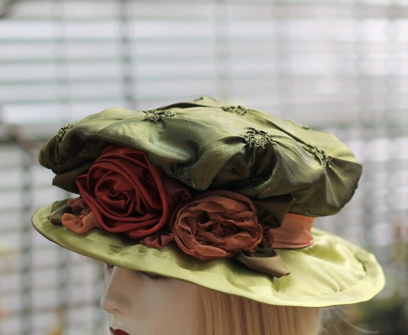 Reniassance Edwardian Costume Hat in Olive Green  - product image