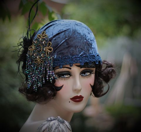 1920s,Flapper,Party,Hat,in,Blue,Velvet,1920s hats, handmade hats, custom made hats, flapper hat,blue flapper hat,20s party hat,1920s party hat,great gatsby party hat, 1920s costume,20s costume,flapper costumeblack hats,hats for summer
