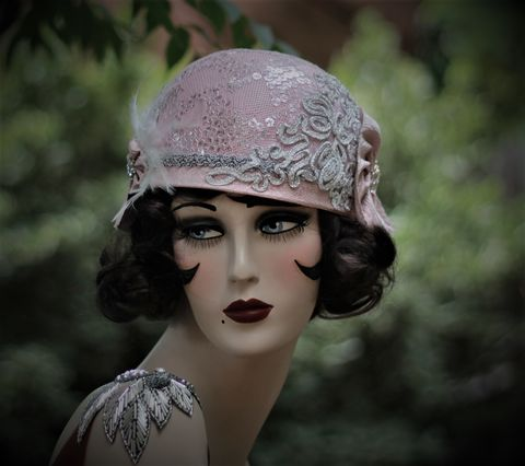 1920s,Flapper,Party,Hat,in,Pink,and,Silver,1920s hats, handmade hats, custom made hats, flapper hat,pink flapper hat,20s party hat,1920s party hat,great gatsby party hat, 1920s costume,20s costume,flapper costumeblack hats,hats for summer
