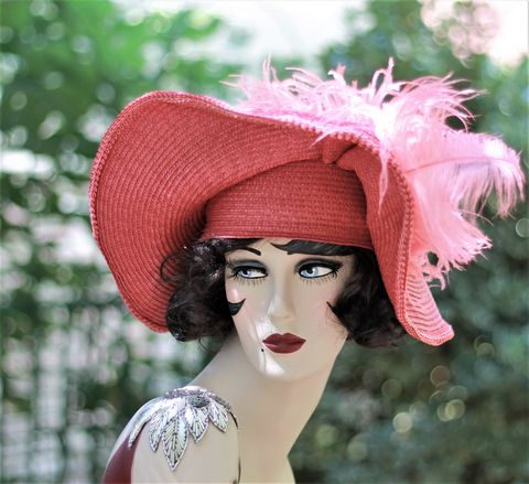 Womens,Sexy,Red,Straw,Wide,Brim,Hat,1920s hats, hand made hats, custom made hats, summer hats,summer straw hatsred hats,sexy hats,hats for summer