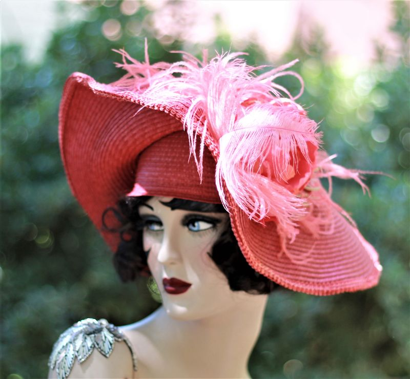 Womens Sexy Red Straw Wide Brim Hat - product image