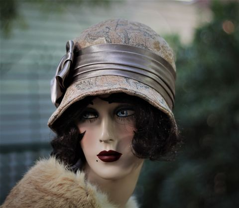 Fall,Winter,Warm,Hat,in,20s,Cloche,Flapper,Style,fall season hats, cloche winter hat, flapper hat, classic hats, couture hat, cloche hat,fall hats, winter hat,chemo hats,chemo fashion hats