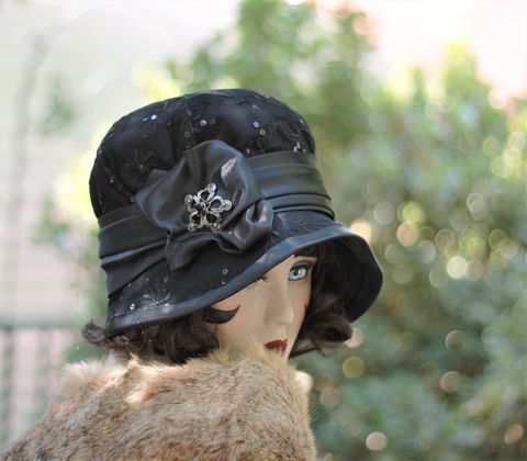 1920s,Vintage,Style,Black,Mourning,Hat,hat, cloche hat, fall hat, winter hat,black winter hat, fabric hat, warm hat,flapper hat