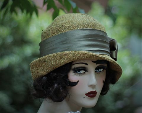 Fall,Winter,Warm,Boho,Hat,in,20s,Cloche,Great,Gatsby,Style,fall season hats, cloche winter hat, mustard hat,flapper hat, classic hats, couture hat, cloche hat,fall hats, winter hat,chemo hats,chemo fashion hats
